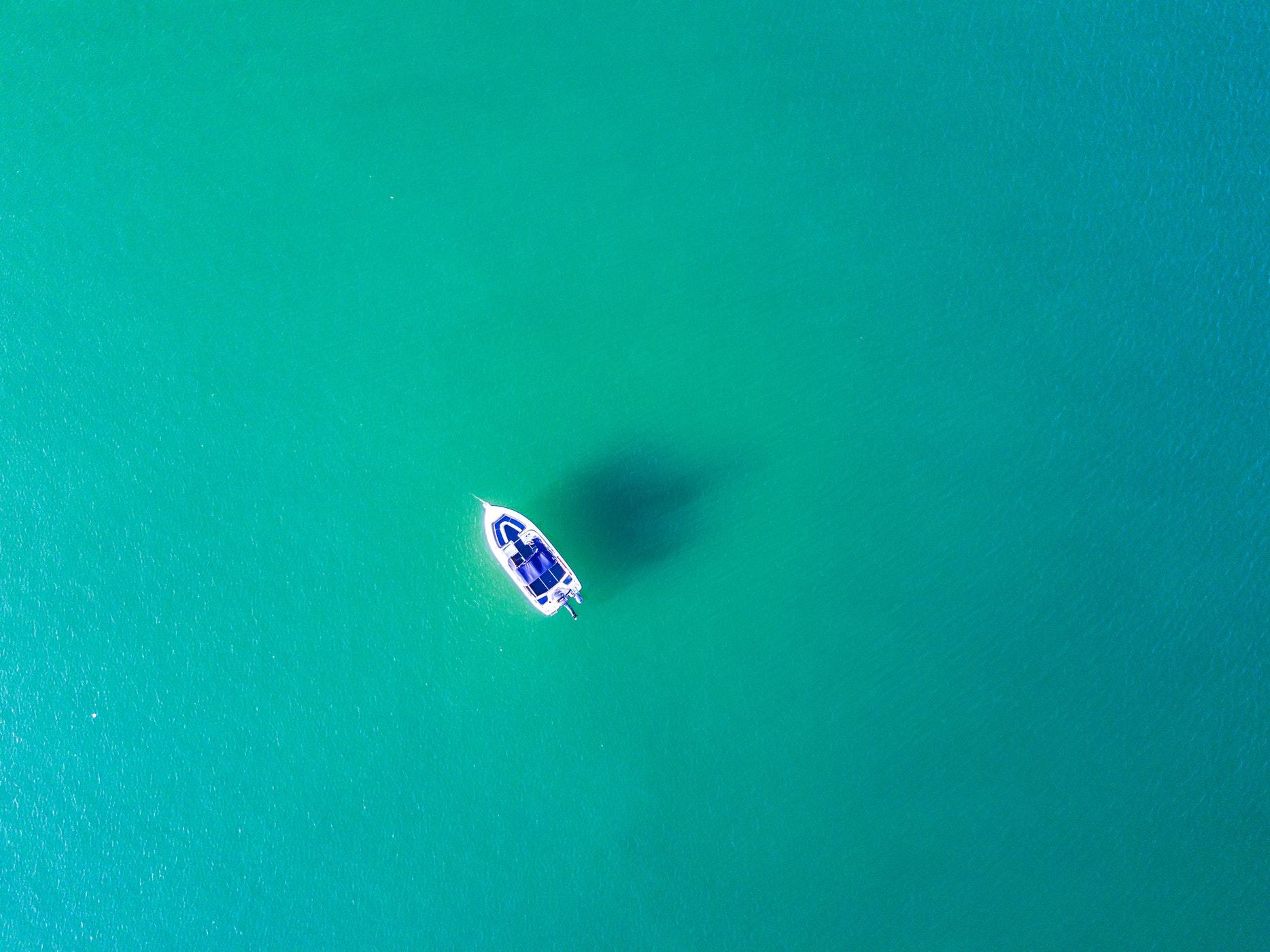 Small boat at sea