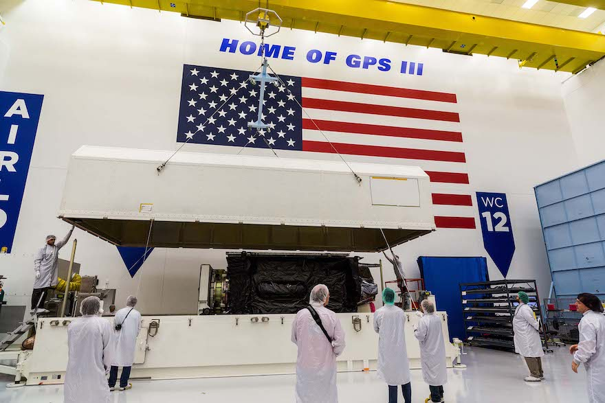 """GPS III SV-03 """"Columbus"""" satellite packed prior to shipment to Cape Canaveral"""